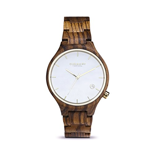 Oakmont Timepieces 'Monaco' mens/womens wooden watch. Display/ gift box & 12 month warranty - Ebony Big Round