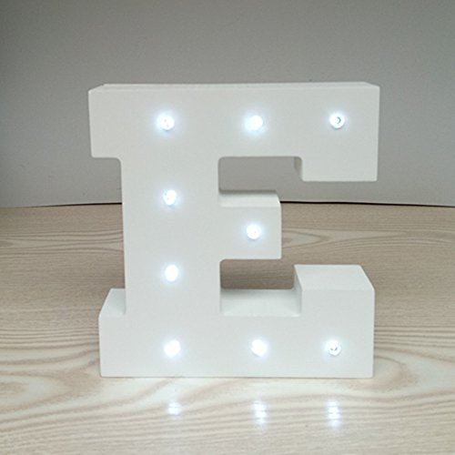 ARTSTORE Decorative DIY LED Letter Lights Sign,Light Up Wooden Alphabet Letter Battery Operated Party Wedding Marquee Décor,Cold White E
