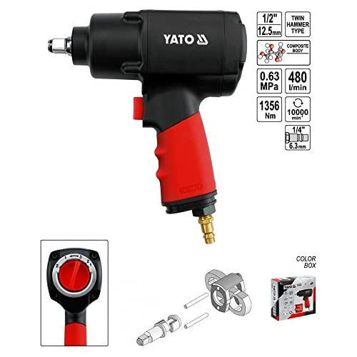 chollos oferta descuentos barato Yato YT 0953 power wrench Negro Rojo Impact wrenches Compressed air 2 45 kg 1356 Nm 480 l min 6 3 bar Ergonómico