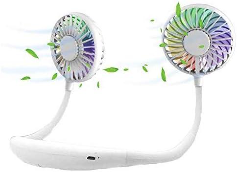 Ventilador personal portátil, mini manos libres, USB recargable portátil Neckband Fan Ventilador de escritorio con doble cabeza de viento, 3 velocidades LED Light Light… (2600 Mah blanco)