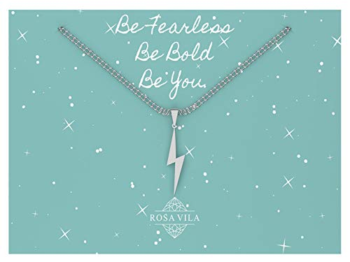 Rosa Vila Lightning Bolt Necklace, Be Fearless Necklace, Be Brave Necklace, Inspirational Necklaces for Women, Strength Necklace Pendant, Encouragement Gifts for Women, Harry Potter Necklace Gift