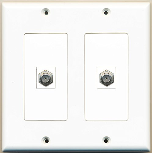 RiteAV - 2 Port Coax Cable TV- F-Type - Dual Gang Wall Plate ()