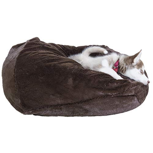 Furhaven Pet Dog Bed | Round Plush Ball Pet Bed for Dogs & Cats, Espresso, Medium Review