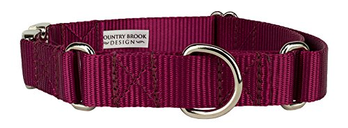 10 - Country Brook Design Heavyduty Nylon Martingale with Premium Buckle-Burgundy-L