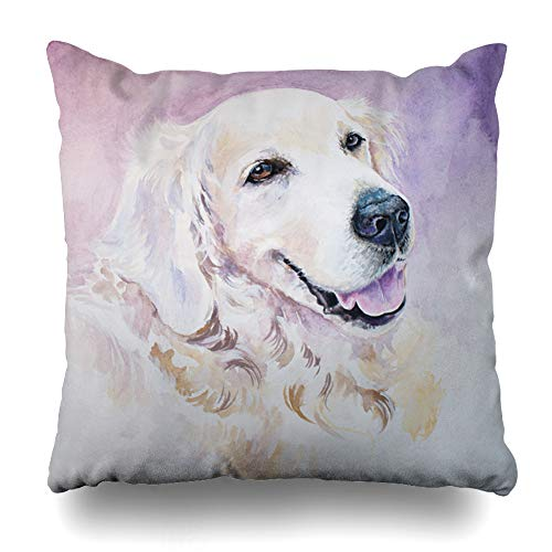 Ahawoso Throw Pillow Cover Mammal Brown Painting Golden Retriever Have Watercolors Dog Labrador Pet Violet Canine Design Home Decor Cushion Case Square Size 16
