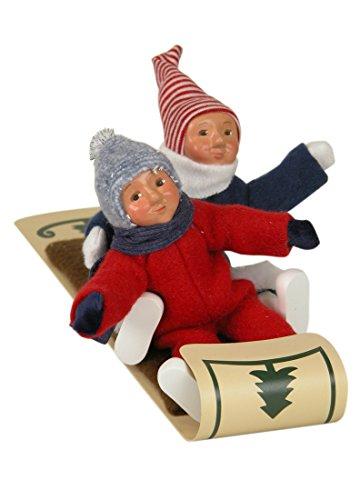 Byers' Choice Two Toddlers on Toboggan