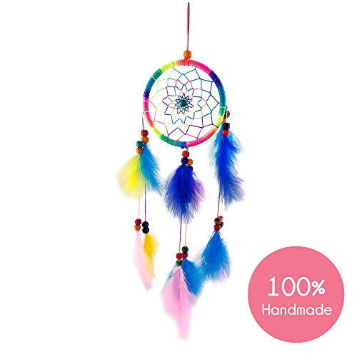 Dream Catchers for Bedroom Decor – Multi color Native American Handmade Home Wall Hanging Decoration Ornament Craft Gifts for Parents & Kids in Brown Blue Purple White design Suit Balcony & Car Char
