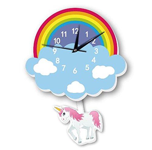 - INS wall clock Unicorn rainbow pendulum clock childrens cartoon bell Slient quartz clock (1)