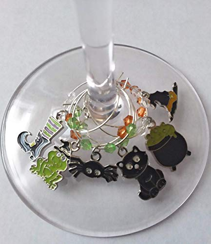 Halloween Wine Glass Charms - Witches Spell Glass Identifier Tags - Halloween Glass Markers - 6 Wine Charms/pack -