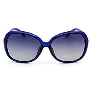 Leckirut Womens Oversized Polarized Sunglasses UV400 Protection Rhinestone Frame Sun Glasses for Driving Travelling blue