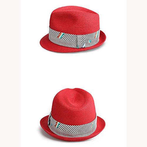 Fashion Sun Decorado Top Jazz Hat Curling Nuevo Fabric Shopping Plaid YEBWXx