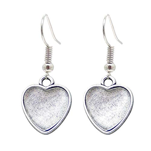 10 Pairs Earring Dangle Bezels Heart Earrings Wire Hooks Setting Blanks Antiqued Silver w/Matching Clear Glass Cabochons 53935I