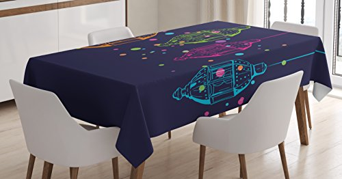 Ambesonne Lantern Tablecloth, Candles in Night Sketch in with Dots Motifs, Dining Room Kitchen Rectangular Table Cover, 60