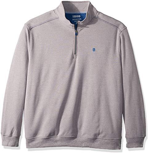 IZOD Men's Big and Tall Advantage Performance Fleece Long Sleeve 1/4 Zip Soft Pullover, Smoked Pearl, - Soft Advantage Jacket