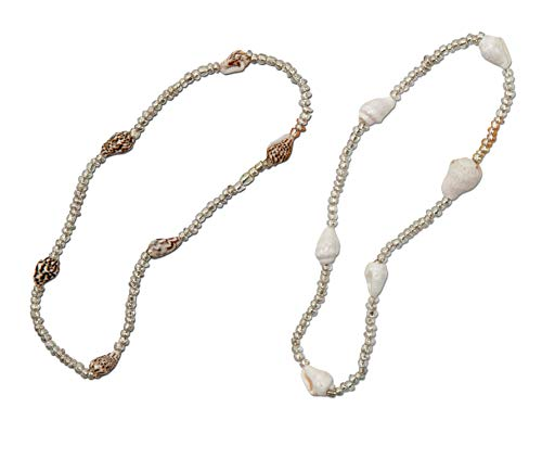 SPUNKYsoul Tropical Nassa Sea Shells Stretch Anklet in Coastal Ivory and Sandcastle Brown Beach Collection
