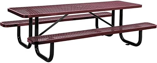 8 Rectangular Expanded Metal Picnic Table, 96 L x 62 W, Red