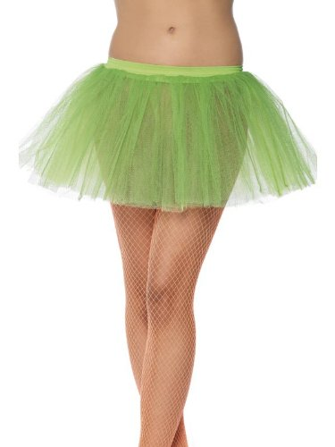 Smiffy's Women's Tutu Underskirt, Neon Green, 4 Layers, One Size, 11.8inches Long, (Sheer Halloween Costumes)