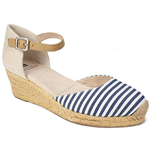 (WHITE MOUNTAIN Women's Kate Espadrille Wedge Sandal Navy/White Stripe 6.5 Medium US)