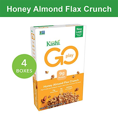 Kashi GO Honey Almond Flax Crunch Breakfast Cereal - Non-GMO | Vegetarian | Bulk Size 14 Oz Box (Pack of 4 Boxes) ()