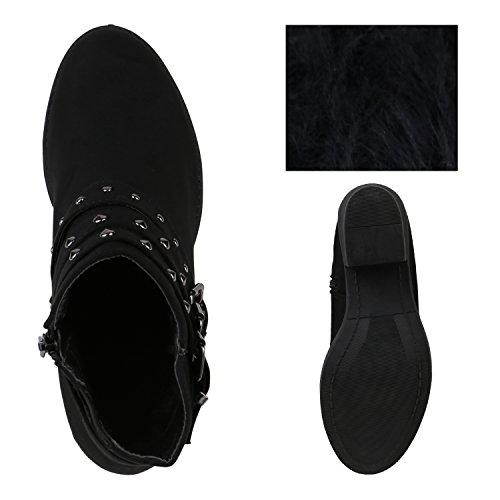 Stiefelparadies Damen Stiefeletten Chelsea Boots Blockabsatz