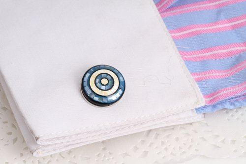 Digabi Mens Jewelry Grace Chequer Design Highly Recommend Mother of Pearl Cufflinks Blue and White