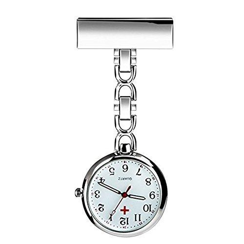 Powshop Nurse Lapel Pin Watch Hanging Medical Doctor Pocket Watch (White)