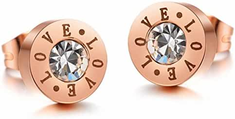Fashion Rose Gold Plated Earrings for Women Stainless Steel Love Stud Earring with Cubic Zirconia