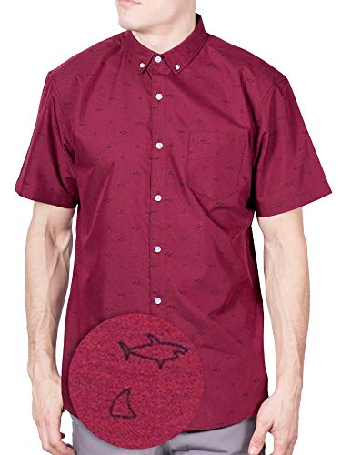 - Visive Hawaiian Shirt Short Sleeve Button Down Up Shirts for Mens Red Shark Line,Small
