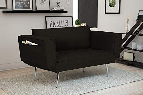 - Novogratz Leyla Loveseat, Multifunctional and Modern Design, Adjustable Armrests to Create a Couch Sleeper - Black