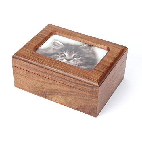Kedera Pet Memorials MDF Pet Photo Cremation Urn, Natural Finish