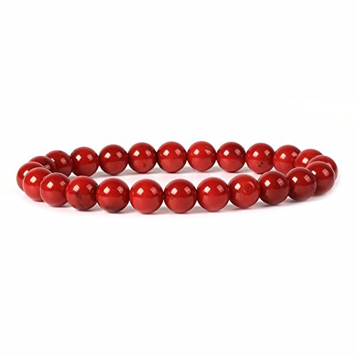 Dyed Red Coral Gemstone 8mm Round Beads Stretch Bracelet 7