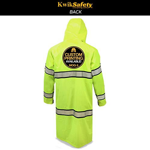 KwikSafety (Charlotte, NC) TORRENT Class 3 Safety Trench Coat | High Visibility Waterproof Windproof Safety Rain Jacket | Hi Vis Reflective ANSI Work Wear | Rain Gear Hideaway Hood Carry Bag | Large by KwikSafety (Image #2)