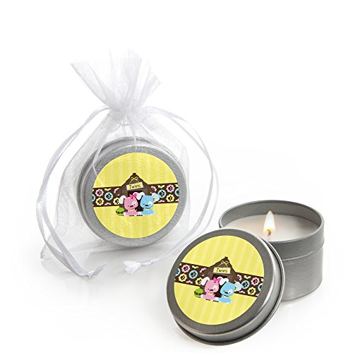 Big Dot of Happiness Twin Puppy Dogs 1 Boy & 1 Girl - Candle Tin Baby Shower Favors - Set of 12 ()