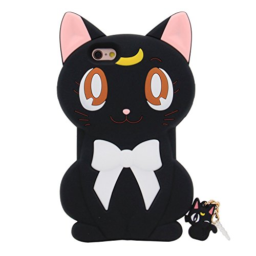 iPhone 6S Case, MC Fashion Cute 3D Japanese Cartoon Sailor Moon Crystal Luna Cat Silicone Rubber Case for Apple iPhone 6S and iPhone 6 (Luna-Black) - Sailor Moon Cases Iphone 6