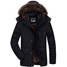 K3K Winter Fashion Mens Hooded Fur Collar Faux Fur Lined Warm Military Jacket