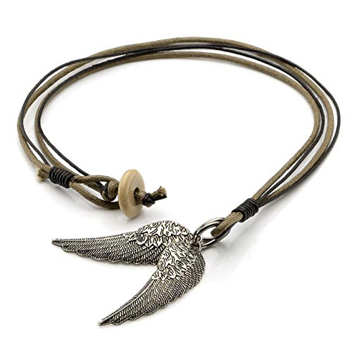 (Jovivi Vintage Men's Alloy Double Angel Wings Pendant Cotton Cord Chain)