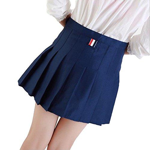 Doux Jupe Plisse hibote Femmes Preppy Style Mini Taille Haute Jupe Filles Vintage School Uniformes Jupes Bleu fonc