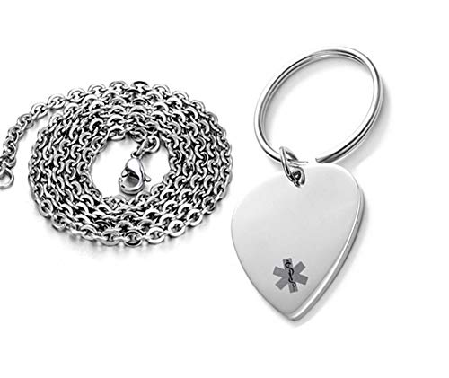 LF Stainless Steel Personalized Name ICE Medical Alert Keychain,Medical ID Tag Guitar Pick Necklace Key Ring for Men Women Kids Sos Emergency Health Alert Jewelry,Free Engraving Customized