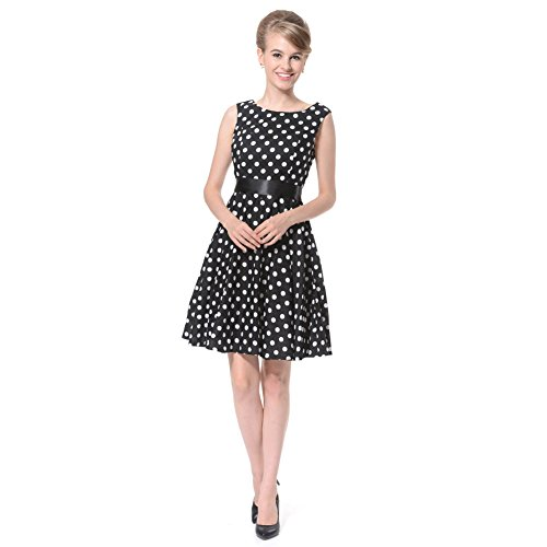 FiftiesChic - Vestido - Noche - Sin Mangas - para Mujer Black + White Dots