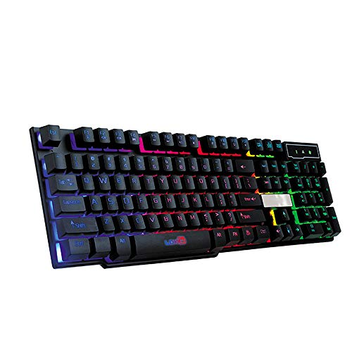 - m·kvfa Colorful Crack LED Gaming Keyboard Illuminated Backlit USB Wired PC Rainbow LDK Upgrade Version of The Game Keyboard (Black)