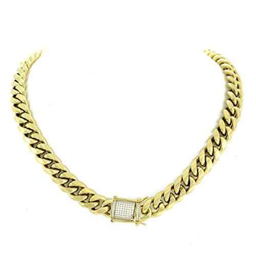 Chain - 1ct Lab Diamond Clasp - 14k Gold Plated Stainless Steel - Iced Out Bling (Gold Diamond Clasp)