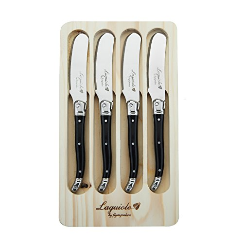 FlyingColors Laguiole Butter Knives/Spreaders Set, Stainless Steel, Black Color Handle, 4 Pieces ()
