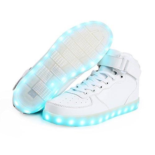 SAGUARO® 7 Farben LED Schuhe USB Aufladen Leuchtschuhe Licht Blinkschuhe Leuchtende Sport Sneaker Light Up Turnschuhe Damen Herren Kinder, Weiß 39