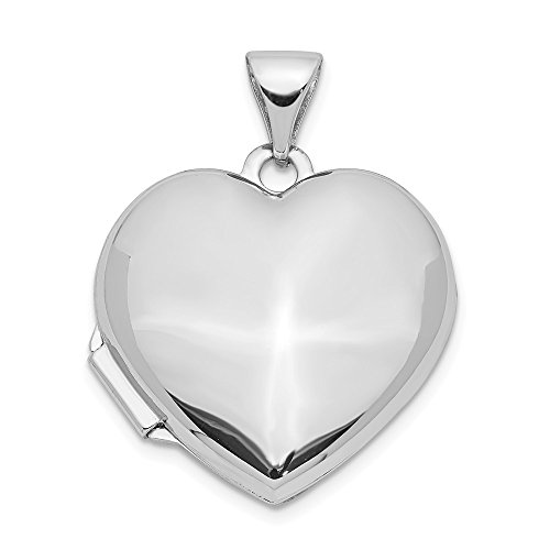 Jewelry Pendants & Charms Lockets 14k White Gold Domed Heart Locket