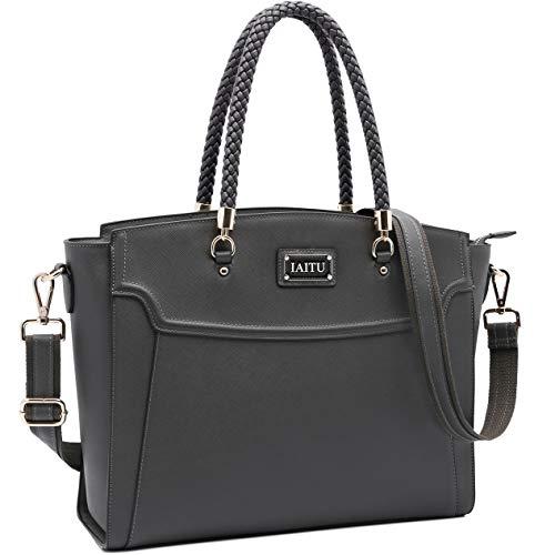 Laptop Bag,15.6 Inches Work Bag Laptop Shoulder Bag for Women Compatible Notebook/MacBook/Ultrabook/Chromebook Notebook(Darkgray-N)