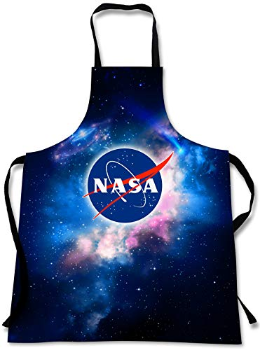 Sweet Gisele NASA Outer Space Cooking Apron | 3D Print Chef Aprons | Great Home Kitchen Souvenir Gift Soft | Travel Accessories Made in USA | 1 Size Adjustable Bib Unisex (Black)