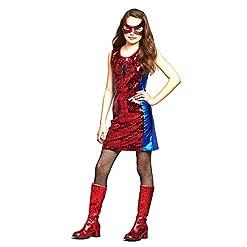 Marvel Spider-Girl Sequin Dress Costume for Girls Size :12 Red/Blue