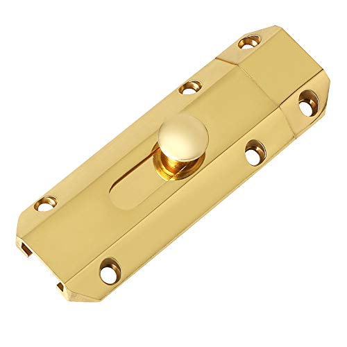 Alise MS520G-3C 3-Inch Slide Bolt Latch Gate Latches Heavy Duty Door Lock,Brass Golden Finish ()