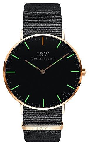 Women's Ultra Thin Watch Sapphire Glass Tritium Watch Luminous Blue Light or Green Light Nylon Strap Quartz Watches (Green Light-Rose Gold Case)