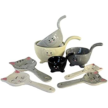 8 Piece Ceramic Cat Measuring Cups and Spoon Set - Baking Bowls and Spoons for Everyday Cooking by Simple Designs